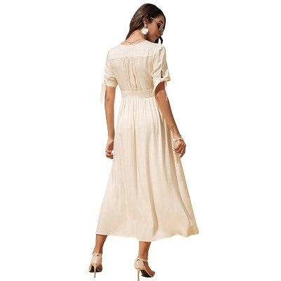 Women Elegant V-neck High Waist Long Dress Summer Short Sleeve Bow Decor Solid Color Casual Single-breasted Robe Work Women Eleg