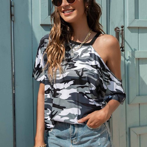 2021 Summer New Product European And American Women's Round Neck Fashion Irregular Leader Camouflage Short-sleeved T-shirt