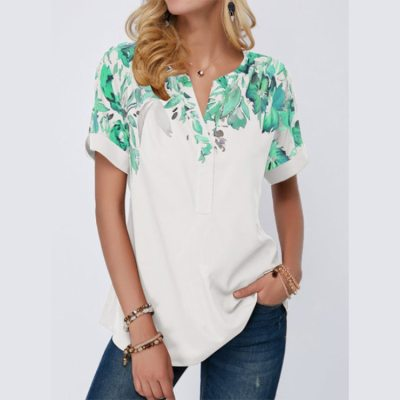 New Tops Large Size Blouse Women's Summer T Shirt 2021 Short Sleeved V Neck Shirts Fashion Casual Floral Print Elegant Blouses