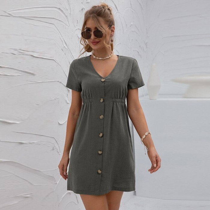 Summer 2021 New Knitted Dress Short-sleeved Solid Color Youth Girly Style V-neck Women's Cardigan High-waisted Breasted Dress