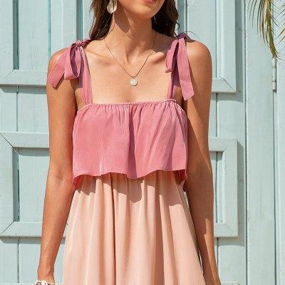 New Camisole Dress for Women 2021 Summer Beach Sexy Leisure Vacation Sleeveless Temperament High Waist Long Dress INS