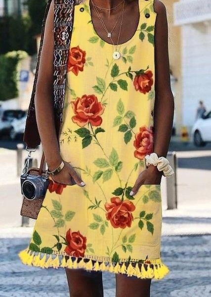 Crew Neck Casual Floral-Print Sleeveless Dresses