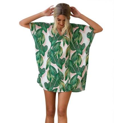 2021 New Women's Beach Blouse European And American Top  Summer V-Neck Printing Chiffon Shirt 1003