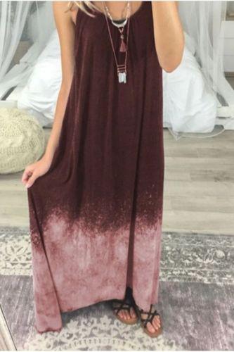 Sexy Summer Beach Women's Dress 2021 Fashion O-Neck Long Maxi Dress for Women Vintage Tie Dye Printing Loose Dresses Femme