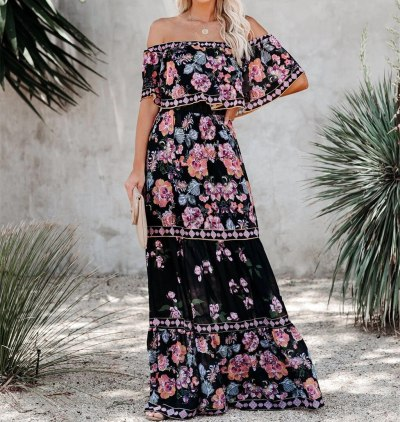 Floral Print Dress Slim Sexy Off The Shoulder Long Dress Irregular Female Streetwear 2021 New Dress Casual Autumn And Winter