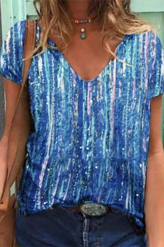 Summer T Shirt Women hot style 2021 new vertical stripes gradient short sleeve T-shirt Female Tee Tshirts dropshipping MYH049