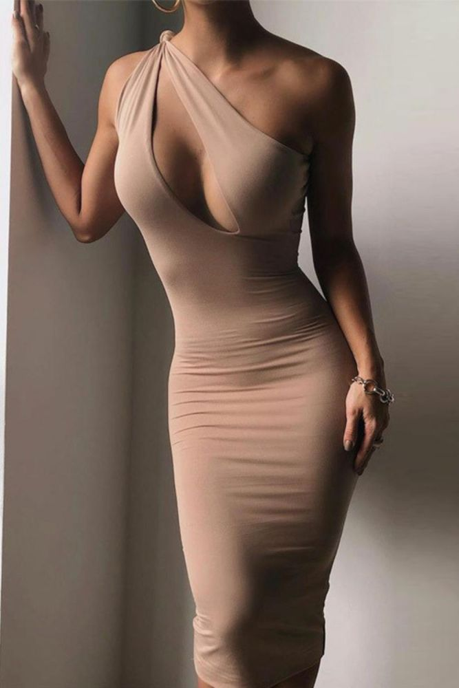 Tight One-Shoulder Dress Sleeveless Sexy Women Bodycon Dress Hollow-out Slim Fit High Wasit Tight Sexy Dress ClubWear