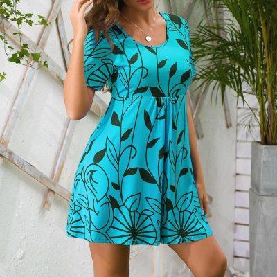 2021 New Summer Dress Large Size Beach Boho Print Short Sleeve A-line Dress Women Casual Party Loose Mini Dress Vestido Sundress