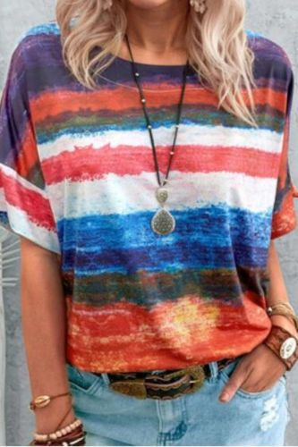 2021 Summer New Casual Rainbow Gradient Short Sleeve Loose Pullovers Women Elegant Round Neck Vintage Stripe Print Streetwear