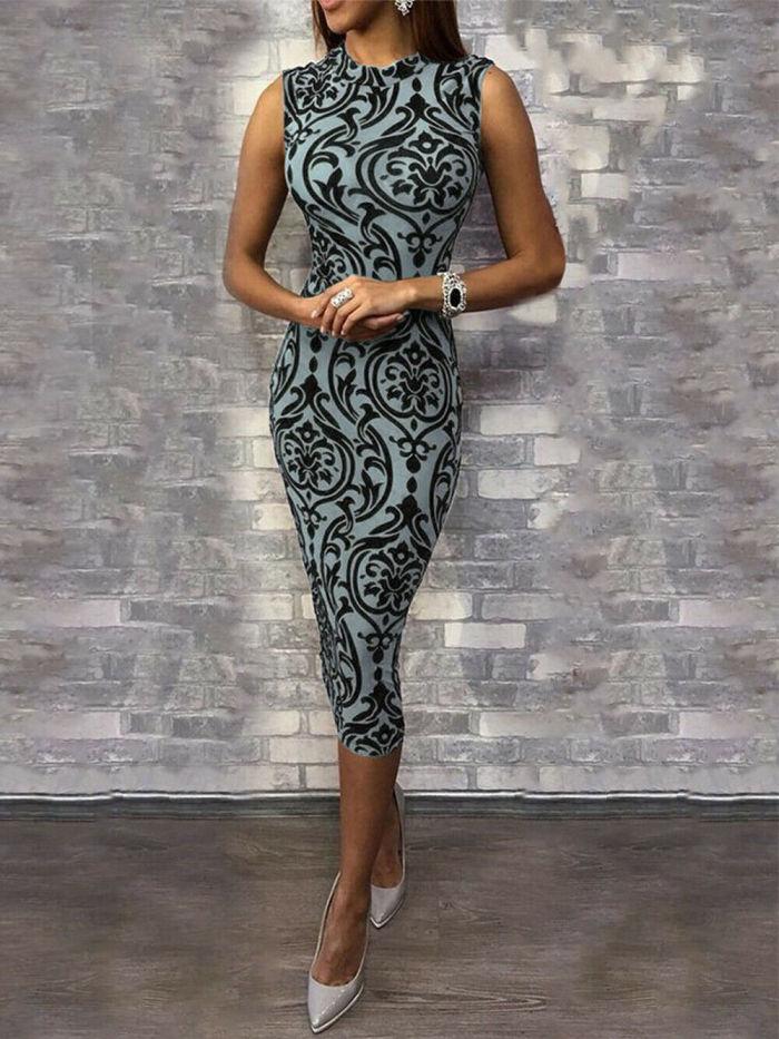 2021 New arrival o-neck sleeveless summer sexy  print slim Women's Bandage Bodycon  Evening Party Club Short Mini Dress