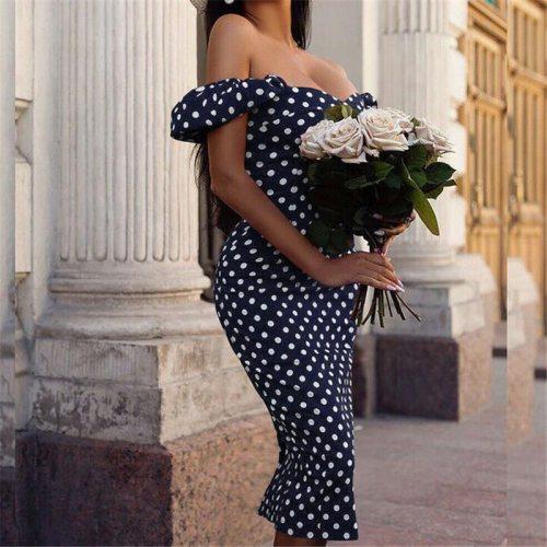 Summer Women Dress Vintage Polka Dot Print Off Shoulder Evening Party Dress Ladies Dresses Casual Bodycon Sundress Beach Dresses