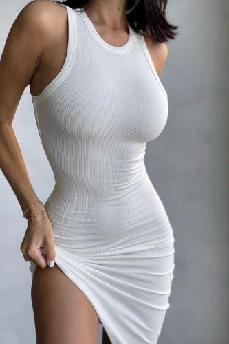 Bodycon Dress 2021 Womens New Thread Color Block Print Slim Mini Vest Dress Sexy Sleeveless Nightclub Tight Pencil Dresses Femme