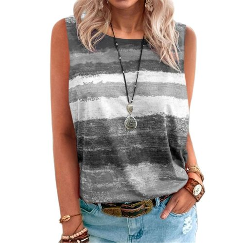 Hot Sale New Style Women Plus Size Fashion Casual Loose Striped O-Neck Sleeveless T-Shirts For Summer 2021 Female 5XL Vest Tops