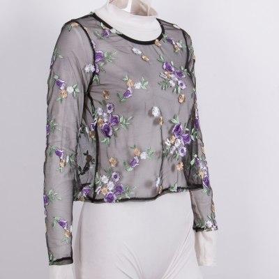 New 2021 Summer Women T-shirts See Through Sexy Mesh Sheer Embroidery Flower Long Sleeve Tee Tops T-shirt