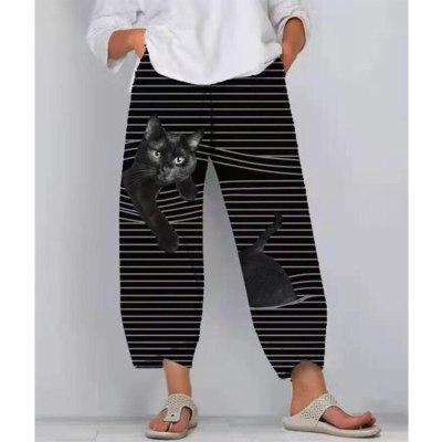 Spring Summer New Women Pants Vintage Funny Cartoon 3D Print Elastic Pant Casual Street Trousers Femme