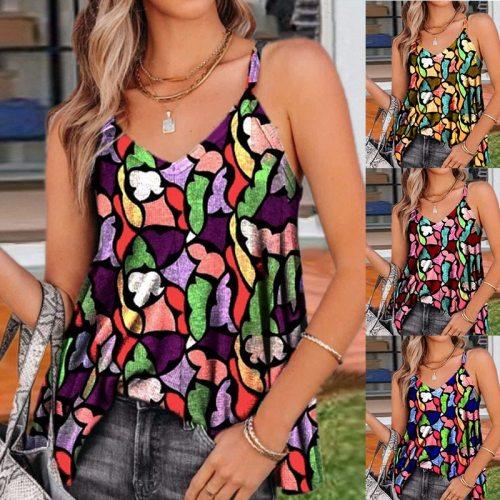 Summer New V-neck Suspender Printed Sleeveless Vest Women's Retro T-shirt Geometric Pattern Tops Sexy Tank Top Chaleco Gilet