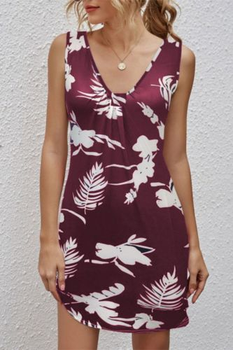 Women's Summer Cusual Deep V Neck Sling Slim Mini Dress 2021 New Fashion Tunic Print Sleeveless Ladies Dresses Plus Size