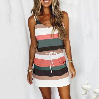 Mini Sexy Dress 2021 Fashion Stripe Drawstring Dress Summer Loose Sleeveless Dress Women's Comfortable Casual Outfits Wear