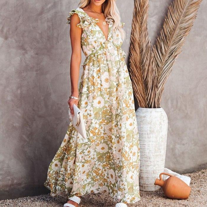 Bow Tie Ruffles Beach Boho Dresses Women Plus Size Maxi Summer 2021 Sleeveless Holiday Floral Femino Dress Vestidos
