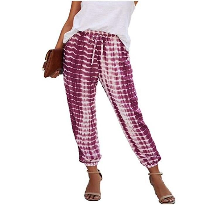 Fashion Pants Women Pantalones Mujer Tie Dye Striped Trousers Woman Harajuku Bottom Pantalon Femme Casual Women Pants