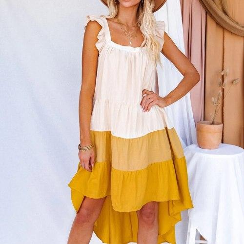 Square Neck Ruffled Pactchwork Women Dress Chic Sleeveless  Backless Irregular Female Casual Dresses 2021 Summer Fashion Vestdio