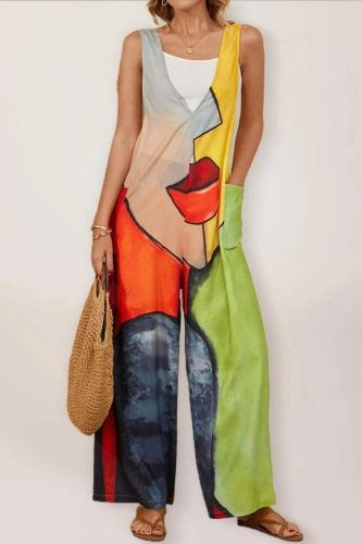 Street Hipster Multicolor Printed Sleeveless Jumpsuit Women's Big Pockets Backless Straight Trousers Summer Casual Wide Leg Pant