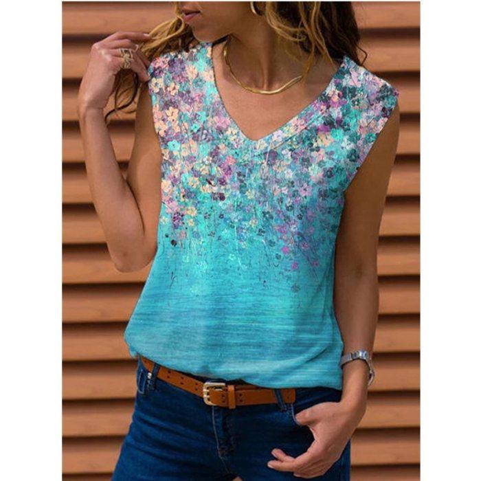 2021 Bohemian Plue Size Women's T-shirt V-neck Sleeveless T-shirt Printing Casual Summer T-shirt S-5xl