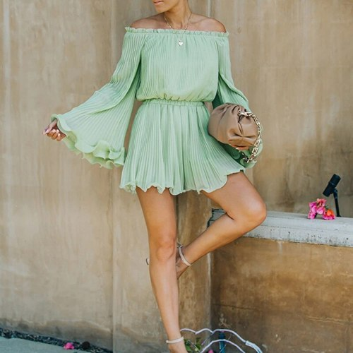 XS-2XL Summer Women Plus Size Solid Color Pleated Off The Shoulder Ruffled Fashion Elegant Romper One Piece Playsuit