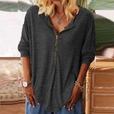 Plus Size Fashion Zipper Blouse Shirt Loose V-Neck Tops Casual Autumn Winter Ladies Female Women Long Sleeve Blusas Pullover