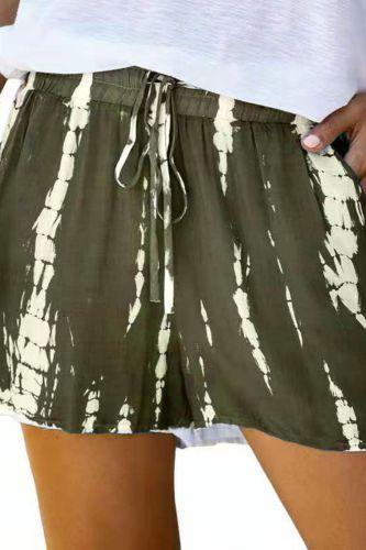 Summer Korean Street Style Women Tie Dye Sport Elastic Short Pants Hot Sale Beach Wear High Waist Shorts For Female