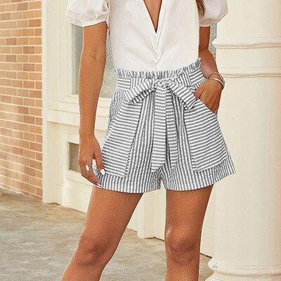 Summer Casual Women Shorts Beach Stripe Pockets Bow Bandage Elastic High Waist Shorts Female Holiday Vocation Loose Short Red