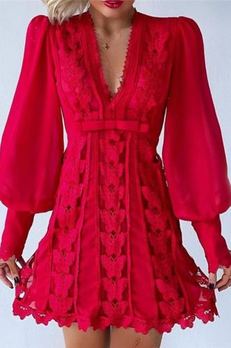 2021 New Women Sexy Sheer Mesh Puff Long Sleeve Solid Butterfly Lace Dress Low Neck A Line Fairy Sunday Robes Evening Party Wear