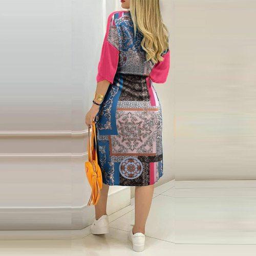 2021 Summer Sexy Shirts Patchwork Dress Fashion Print Button Long Party Dresses Elegant Turn-Down Collar 3/4 Sleeve Pocket Dress