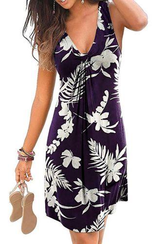 Beach Boho Print Dress 2021 New Sexy V-neck Sleeveless Loose A-Line Dress Plus Size 4XL 5XL Summer Women Casual Dresses Vestidos