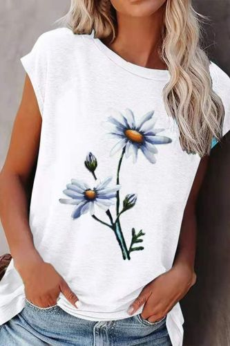2021 Summer New Loose Street Hipster Fashion Round Neck Flower Print Short Sleeve Casual Women's Comfortable Top T-Shirt