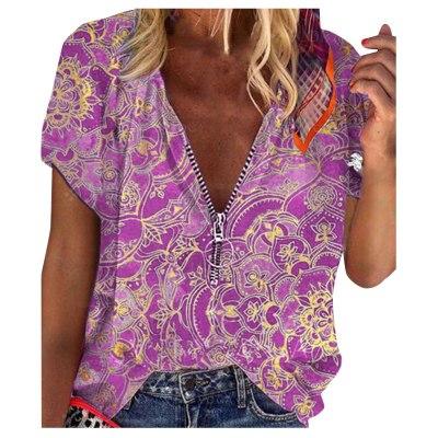 Vintage Zipper Blouse Women's Summer Retro Print V-neck Zipper Short Sleeve Loose Shirt Blouse Ladies Summer Casual Tops