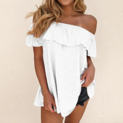 2021 New Fashion Women One-Line Collar Top Short Sleeve T-Shirt Summer  Ladies Casual Loose Tee Ruffle Female Clothing
