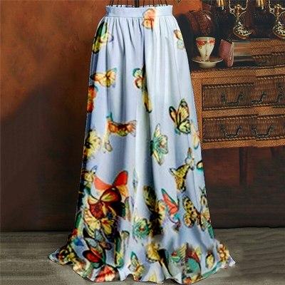 High Waist Boho Print Long Skirt Women Maxi Skirt Butterfly Print Beach Skirt Female Chic Vintage