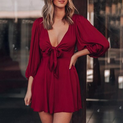 Summer Fashion Plunge Puff Long Sleeve Bowknot Tie Lace Up High Waist Solid Party Women's A Line Dress Streetwear Robes Femme