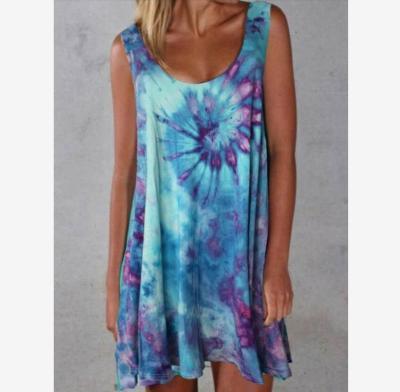 Plue Size Summer Tie-dye Dress Bohemian Sleeveless Round Neck Loose Women Dress A-line Mini Dress Ladies 2021 S-5xl