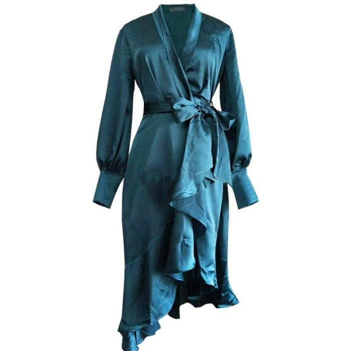 Ladies loose irregular fashion sexy satin pleated long dress 2021New women's wear autumn belt long sleeves plus size dress bing