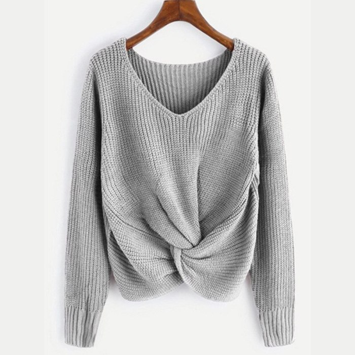 2021 Brand New Women Fashion Sweater Plus Size Crossed Knot Chic Long Sleeve Knitted Pullover Winter Sweater Sueter Mujer S-3XL