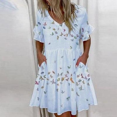 Elegant Letter BOSS Printed Ruffle Party Dress Summer Butterfly Short Sleeve Mini Dress 2021 Spring V Neck Patchwork Women Dress