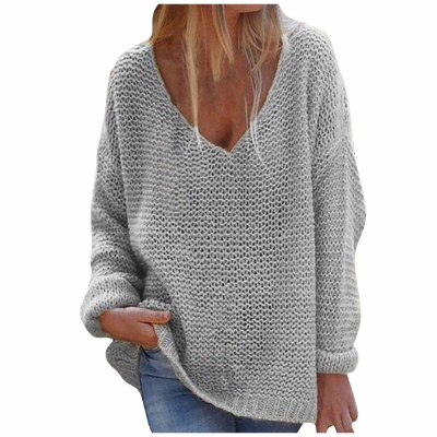 elegant Sweaters Women Fashion V-neck Loose Pullover Solid Color Long Sleeves Sweater Tops clothes for women 2021 fall