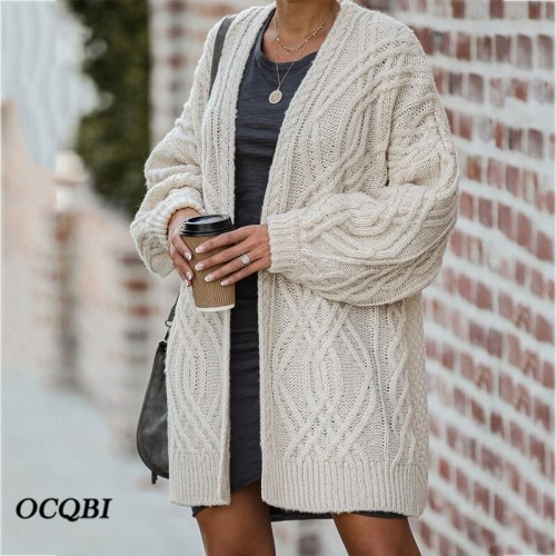 Plus Size Women Sweater 2021 Winter Cardigans Korean Pockets Casual Winter Clothes Women