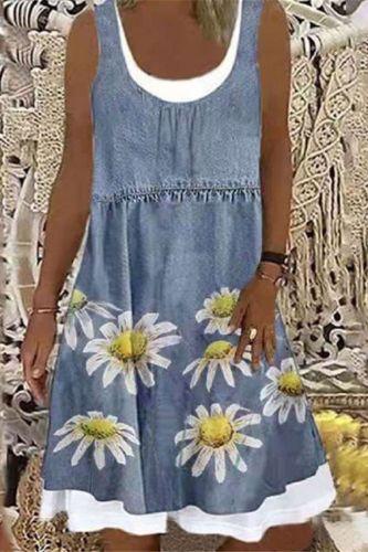 Women Summer Casual Denim Printing Sleeveless Dress 2021 Ladies Elegant O Neck Loose Mini Dress Streetwear Plus Size Retro Dress