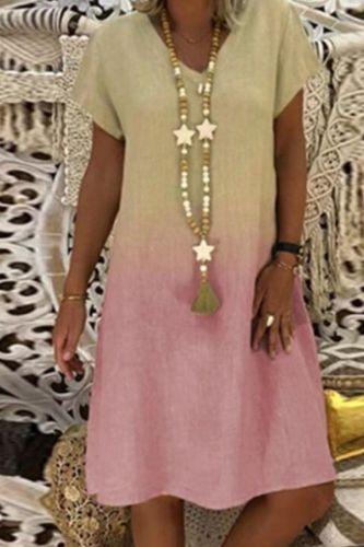 4# Women Plus Size Dress Boho Dress Colorful Print Short Sleeves Boho Dress V-neck Casual Summer Dresses Sukienka Платье 2021