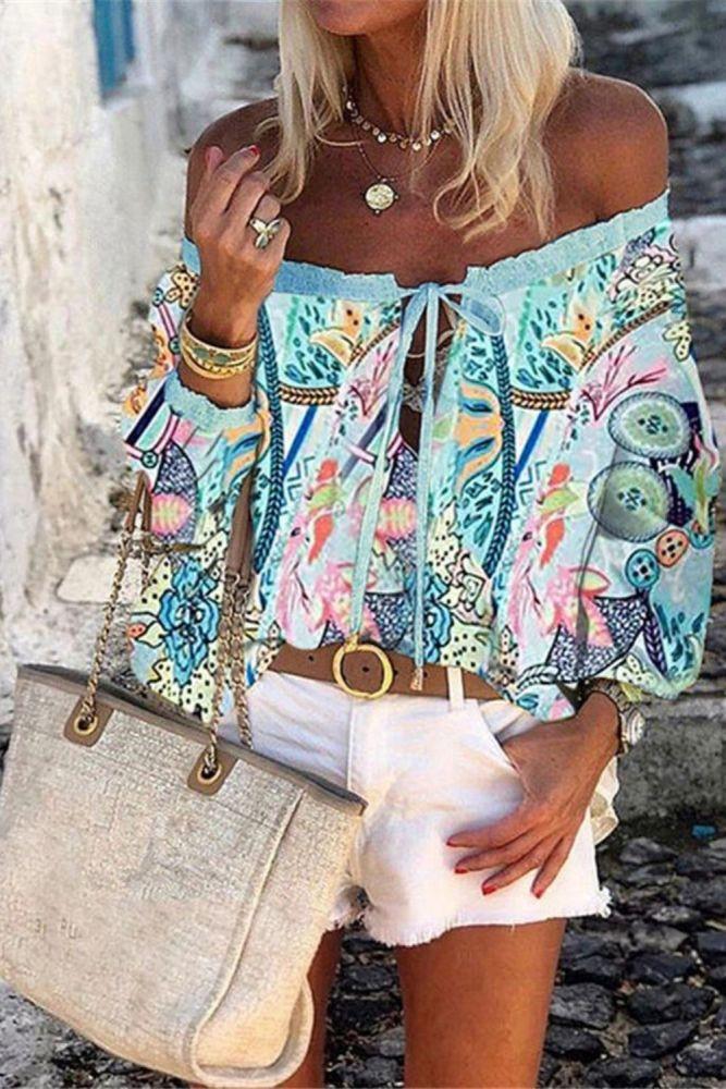 2021 Sexy Women Spring Autumn Ruffles Chiffon Tops Tees Floral Plus Size Belt Off Shoulder Casual Femme Blouse Shirt Befree Boho