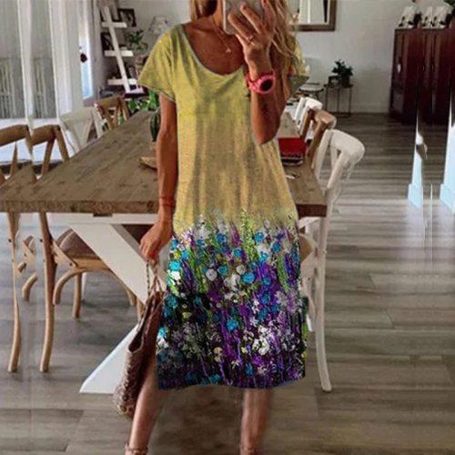 Women Vintage Floral Printed Loose Dress 2021 Summer Elegant O-Neck Short Sleeve A-Line Dresses Female Casual Beach Dres Mujer
