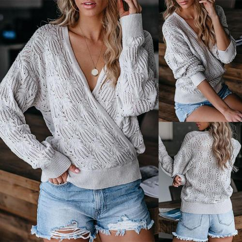 2021 Women Deep V Neck Wrap Sweater Long Sleeve Crochet Knit Hollow Pullover Women's Clothing свитер женский pull femme